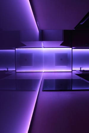 modern luxury kitchen with purple led lighting Stock Photo - 14700576