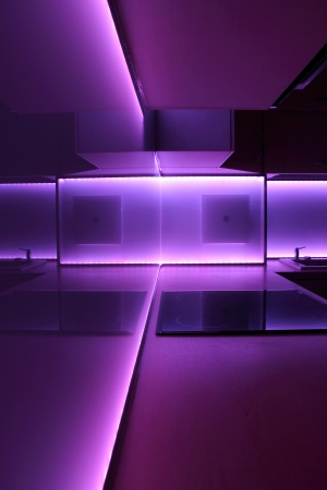 modern luxury kitchen with purple led lighting photo