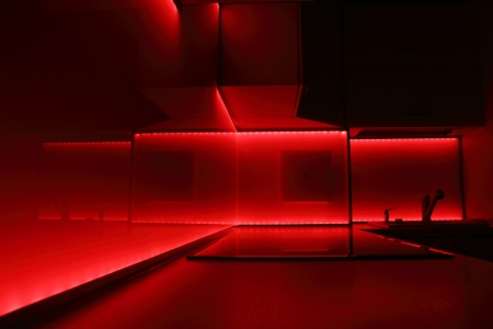 extractor: modern luxury kitchen with red led lighting