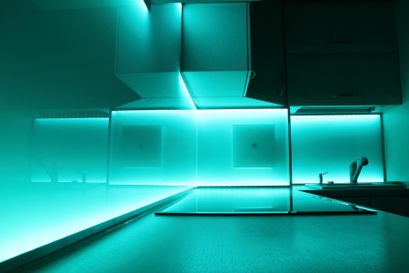 modern luxury kitchen with turquoise led lighting photo