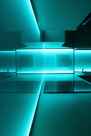modern luxury kitchen with turquoise led lighting Stock Photo - 14700572