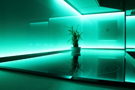modern luxury kitchen with turquoise led lighting 写真素材