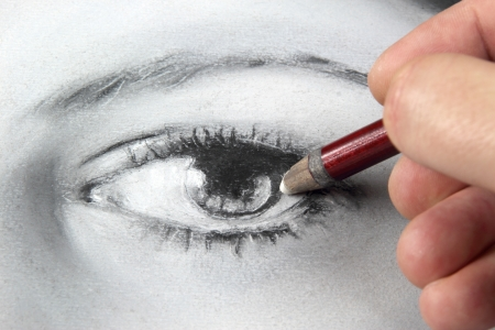 making face: Drawing a portrait - eye close up