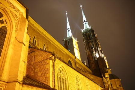 Cathedral at night, Wroclaw, Poland photo