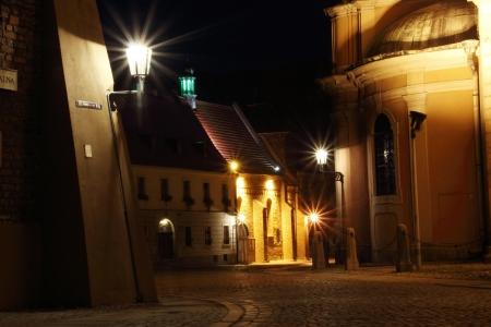 wroclaw: Cathedral Island (Ostrow Tumski) at night, Wroclaw, Poland Stock Photo