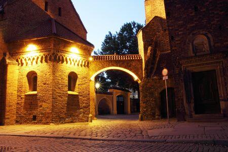 wroclaw: Dumpling Gate at night, Cathedral Island (Ostrow Tumski), Wroclaw, Poland