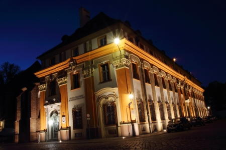 Pastoral Center of the Archdiocese of Wroclaw, Cathedral Island (Ostrow Tumski) at night, Poland photo