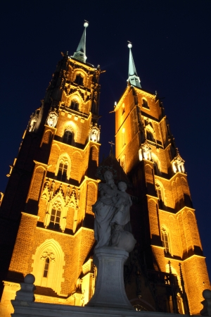 St. John`s cathedral at night, Wroclaw, Poland, Ostrow Tumski photo
