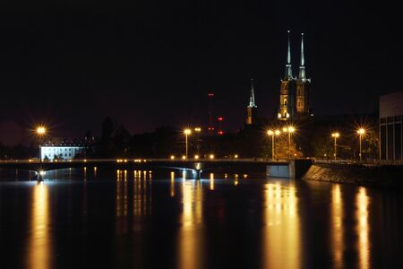 City at night, Cathedral Island, Wroclaw Stock Photo - 15554945