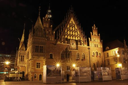 wroclaw: Old city hall in Wroclaw at night, Poland Editorial