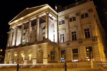 Opera in Wroclaw at night, Poland