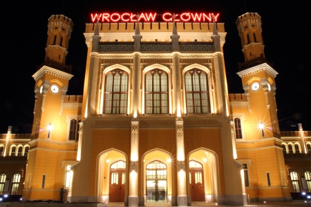 Main Railway Station in Wroclaw at night, Poland Stock Photo - 15855329