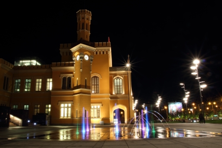 tourism industry: Main Railway Station in Wroclaw at night, Poland