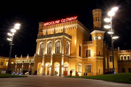 Main Railway Station in Wroclaw at night, Poland Stock Photo - 15855325