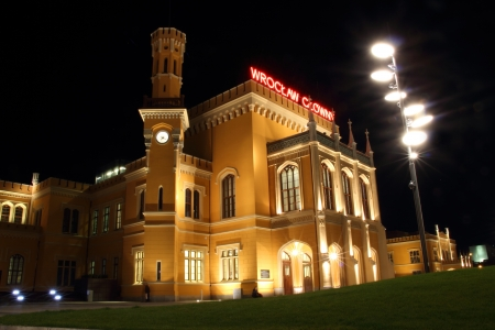 Main Railway Station in Wroclaw at night, Poland