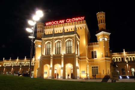Main Railway Station in Wroclaw at night, Poland Stock Photo - 15855326