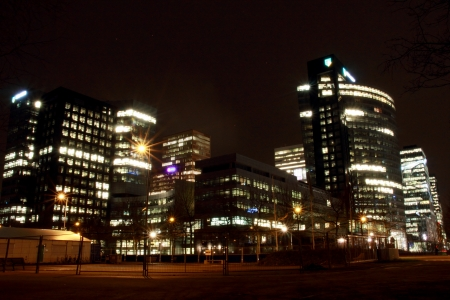 office buildings in Amsterdam at night, the Netherlands
