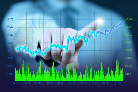 businessman hand touch virtual stock graph, chart, diagram photo