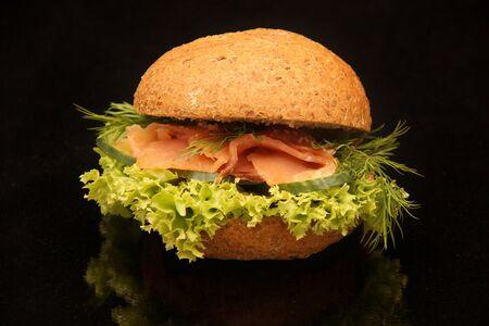 salmon sandwich on black background Stock Photo - 17800724