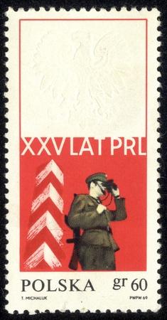 POLAND - CIRCA 1969 A stamp printed in POLAND shows XXV years of PRL, circa 1969