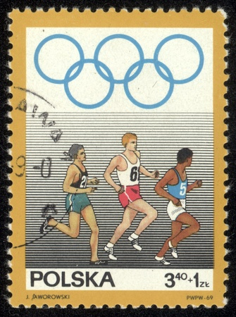 superiority: POLAND - CIRCA 1969 stamp printed by Poland, shows competition runners, circa 1969