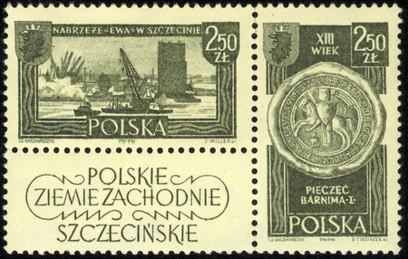postage stamp: POLAND - CIRCA 1961 A stamp printed in POLAND, shows Polish Western Territories, circa 1961 Editorial