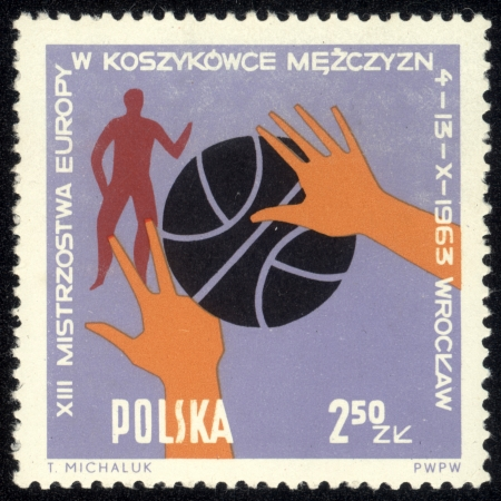 POLAND - CIRCA 1963 Various positions of ball, hands and players. Town Hall, Peoples Hall and Arms of Wroclaw, circa 1963