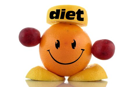 Happy diet. Funny fruits character collection on white background photo