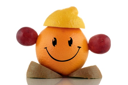 Happy diet. Funny fruits character collection on white background