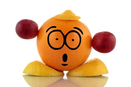 Diet time. Funny fruit character on white background