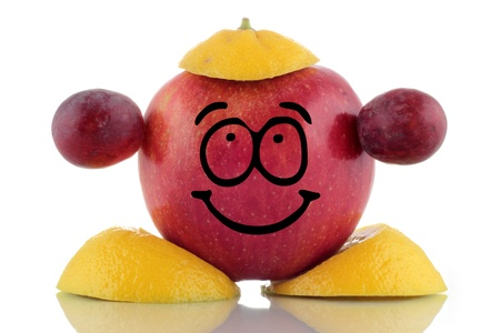 Friendly diet. Funny fruit collection on white background Stock Photo
