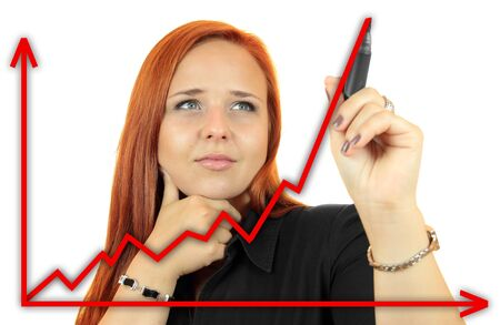 Business success growth chart  Business woman drawing graph showing profit growth on virtual screen  Redhead businesswoman isolated on white background photo