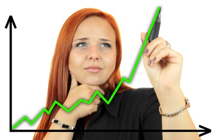 Business success growth chart  Business woman drawing graph showing profit growth on virtual screen  Redhead businesswoman isolated on white background