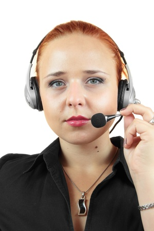Attractive woman with headphone on white background photo