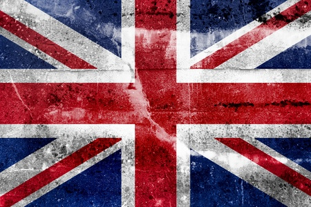 england flag: Great Britain Flag painted on grunge wall