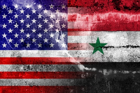 USA and Syria Flag painted on grunge wall photo