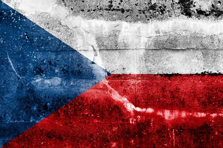 Czech Republic flag on old grunge wall background photo