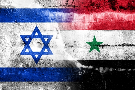 Israel and Syria Flag painted on grunge wall photo