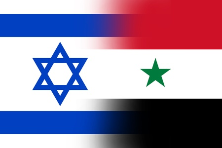 middle east war: Israel and Syria Flag