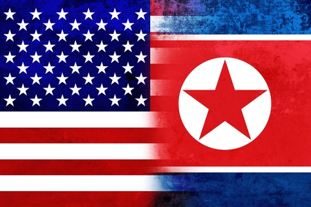 Grunge USA and North Korea Flag photo