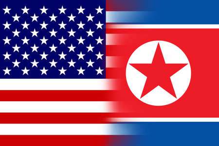USA and North Korea Flag photo