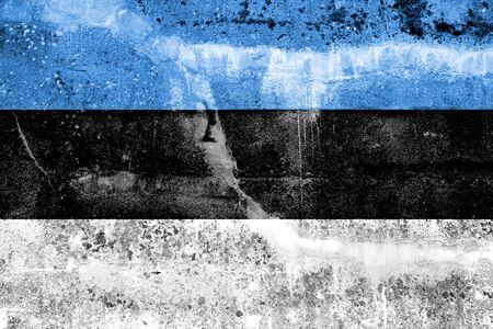 Estonia Flag painted on grunge wall photo