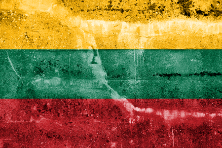 Lithuania Flag painted on grunge wall photo