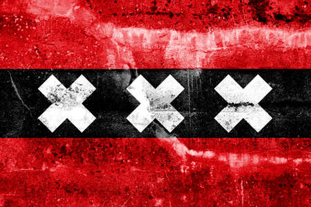 Amsterdam City Flag painted on grunge wall photo