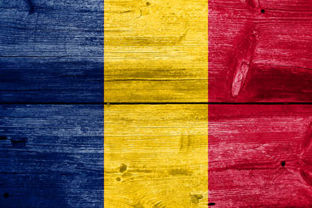 chad: Chad Flag painted on old wood plank background Stock Photo