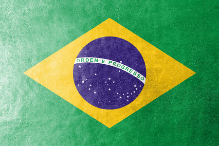 Brazil Flag on leather texture  photo
