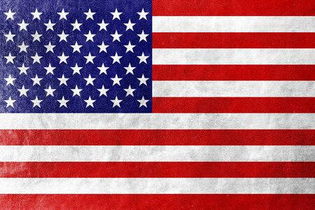 USA Flag on leather texture  photo