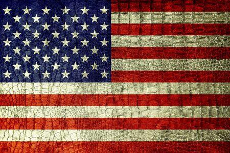USA Flag on luxury crocodile texture  photo