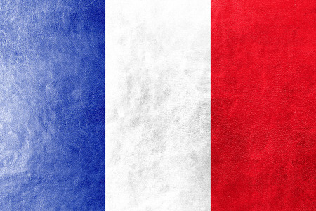 France Flag on leather texture photo