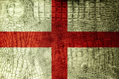 England Flag painted on luxury crocodile texture photo
